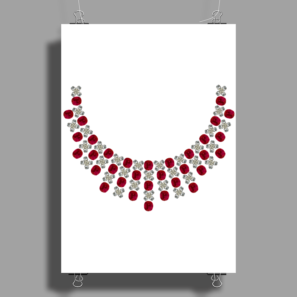 Hugs and Kisses Ruby and Diamond Necklace Poster Print (Portrait)