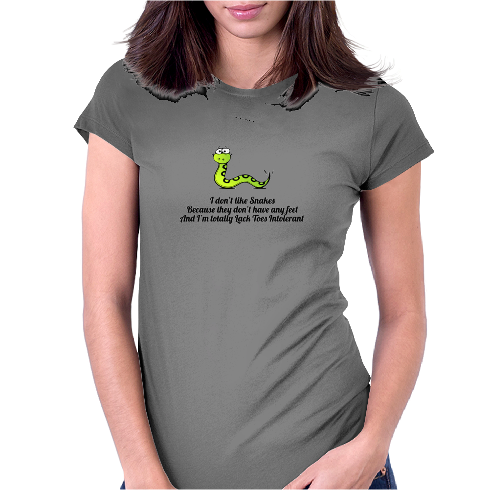 HUMOR ,FUNNY,LAUGHTER ,SMILE I don't like snakes Womens Fitted T-Shirt