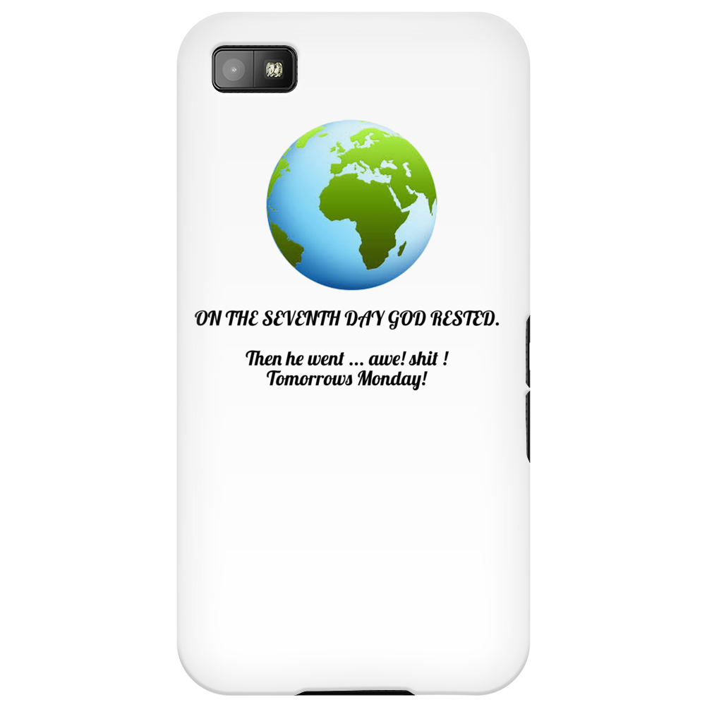 humour funny laughter satire And on the seventh day God rested , And then he went awe Shit tomorrows Phone Case