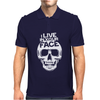 I Live In Your Face Skull Mens Polo