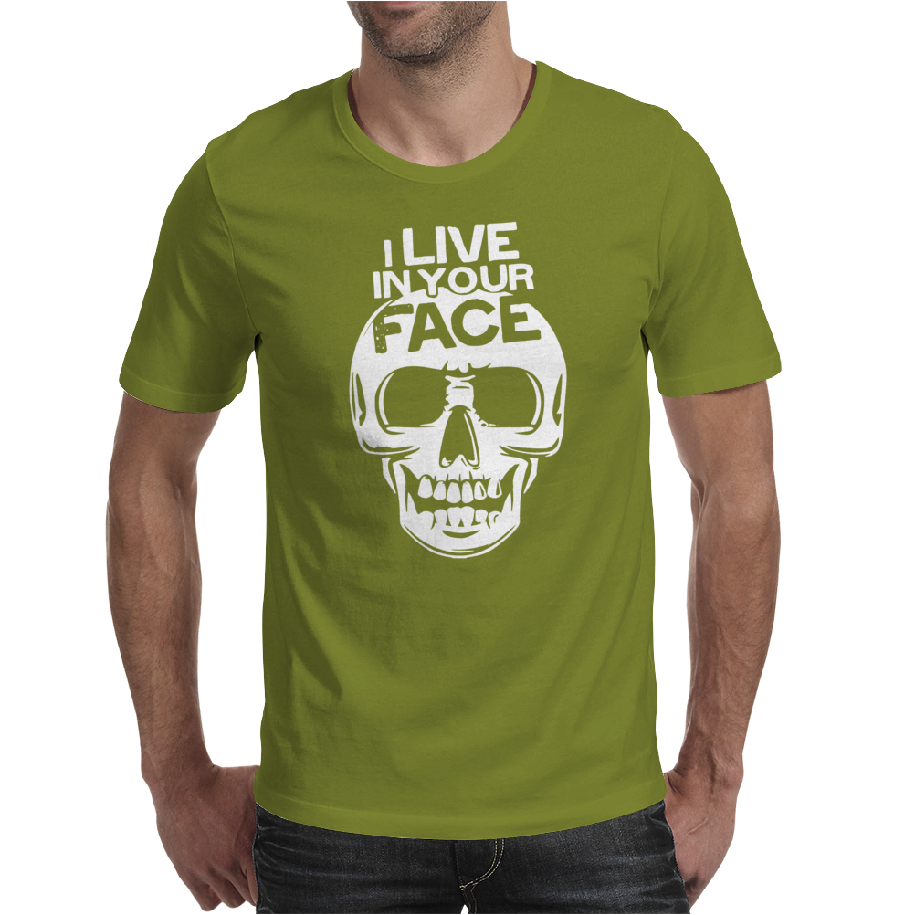 I Live In Your Face Skull Mens T-Shirt