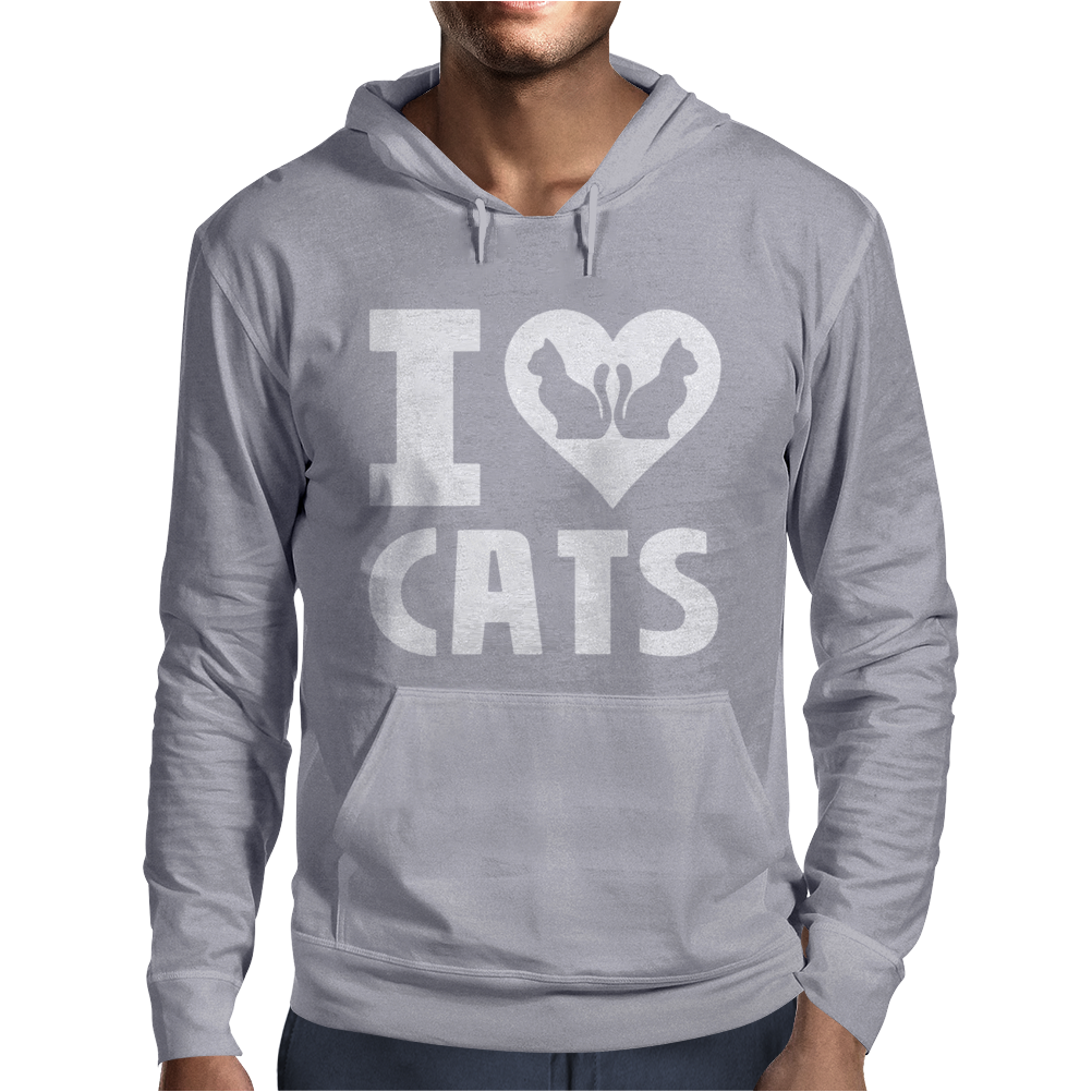 I Love Cats Mens Hoodie