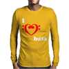 I Love Heart Bass Guitar Music Mens Long Sleeve T-Shirt
