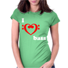I Love Heart Bass Guitar Music Womens Fitted T-Shirt