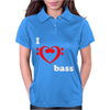 I Love Heart Bass Guitar Music Womens Polo