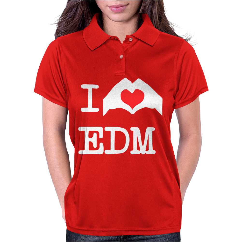 I Love Heart Edm Womens Polo
