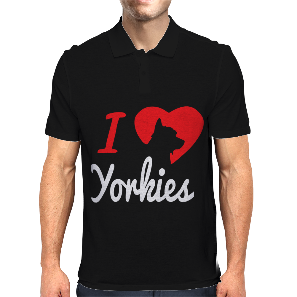I Love Yorkies Dogs Mens Polo