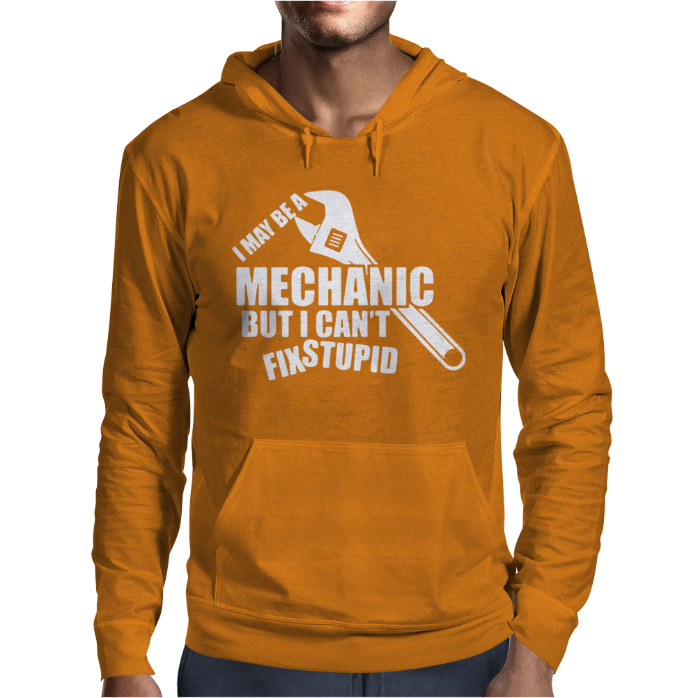 I May Be A Mechanic But I Cant Fix Stupid Mens Hoodie