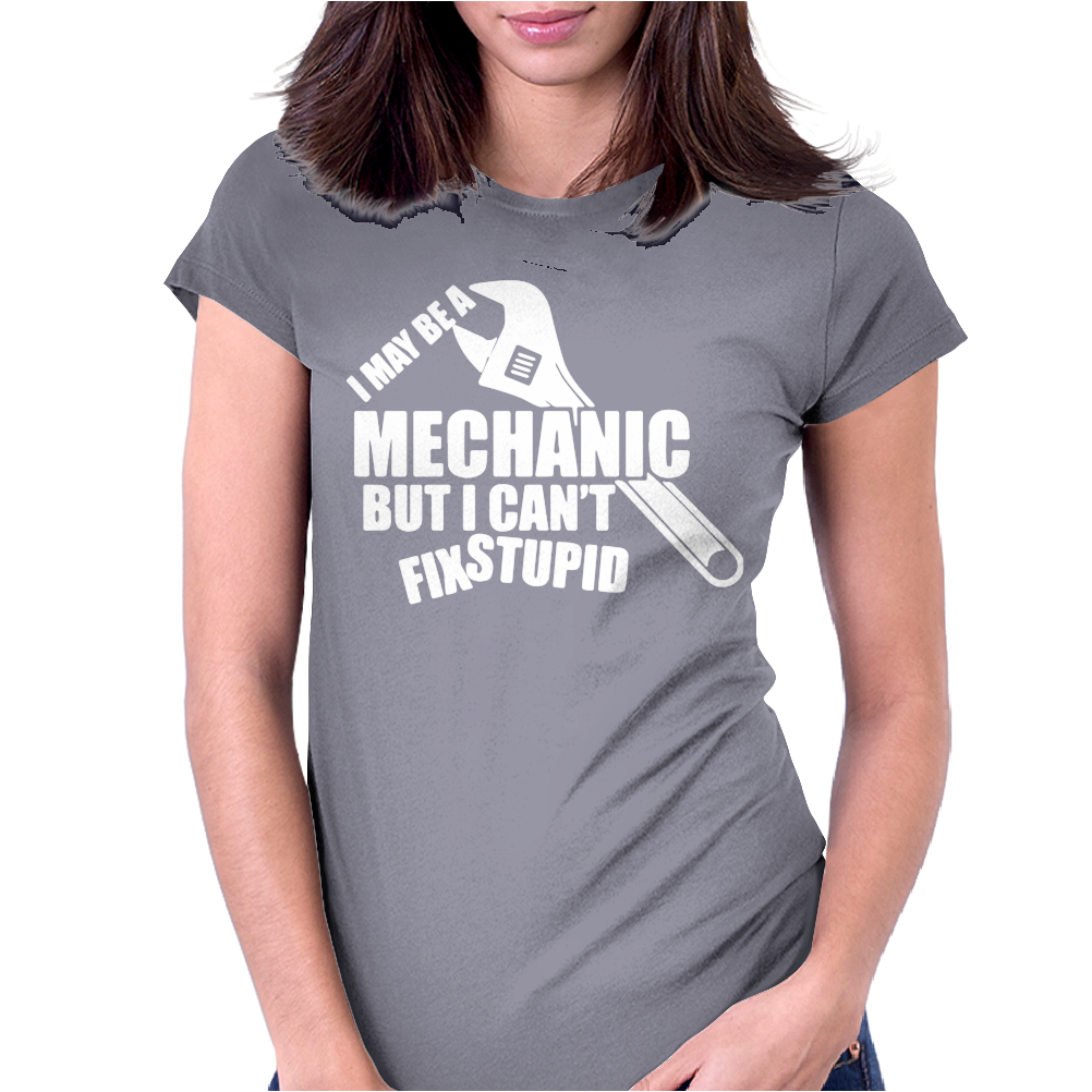 I May Be A Mechanic But I Cant Fix Stupid Womens Fitted T-Shirt