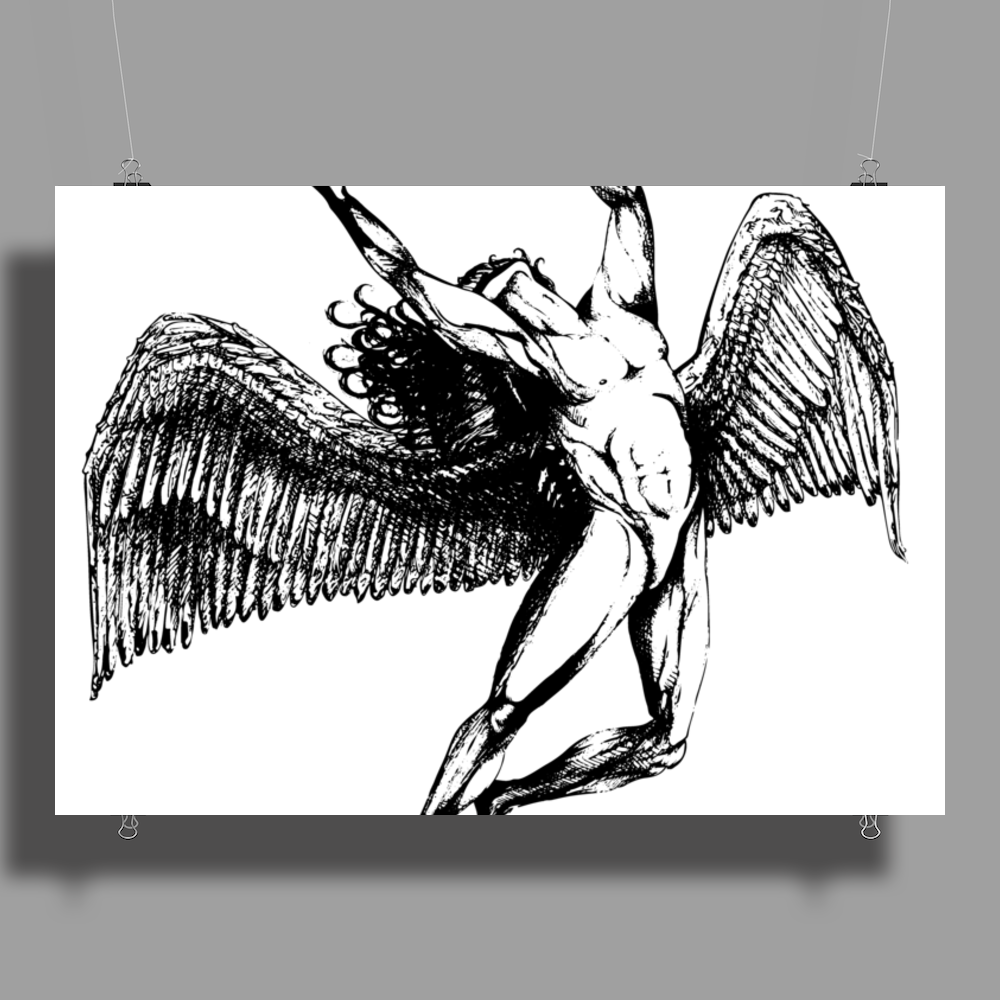 ICARUS THROWS THE HORNS - black Poster Print (Landscape)