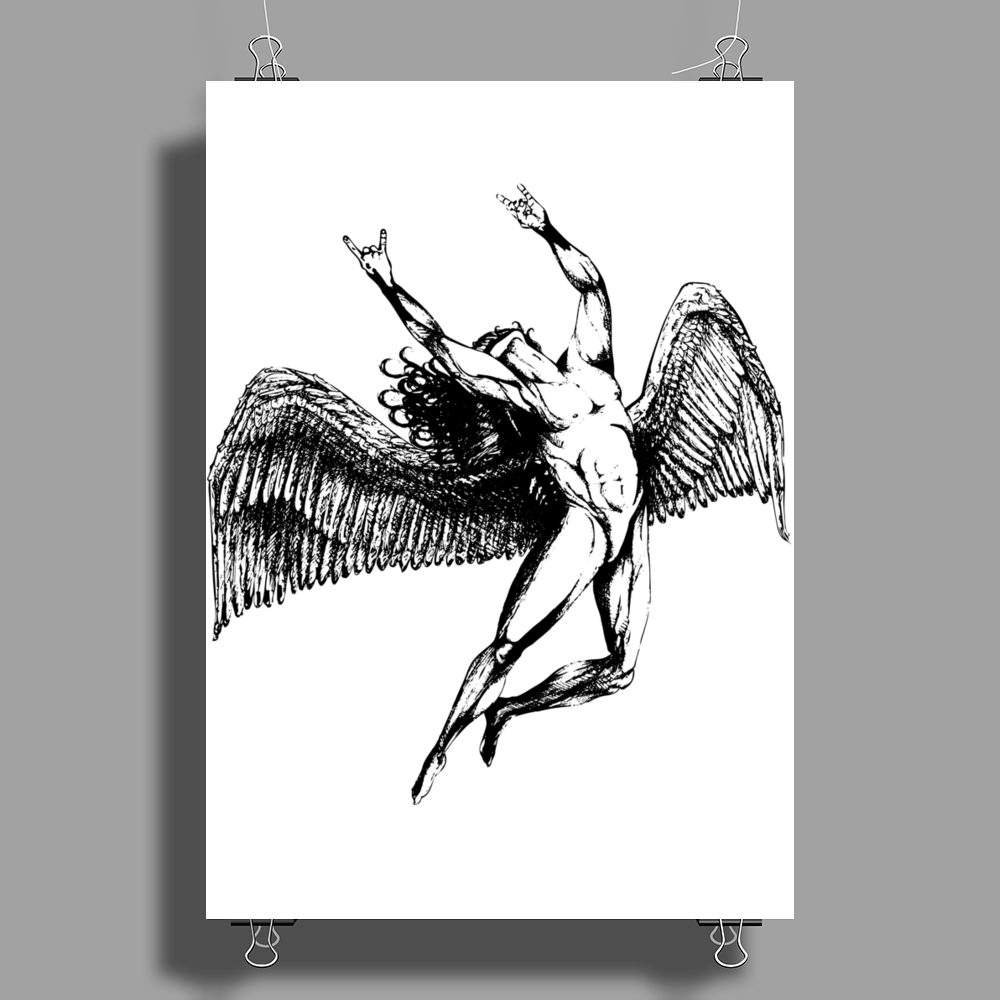 ICARUS THROWS THE HORNS - black Poster Print (Portrait)