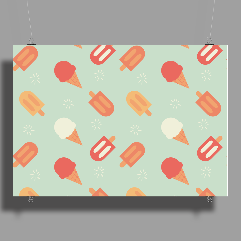 Ice cream pattern Poster Print (Landscape)