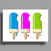 ice lolly popsicle light blue pink green Poster Print (Landscape)