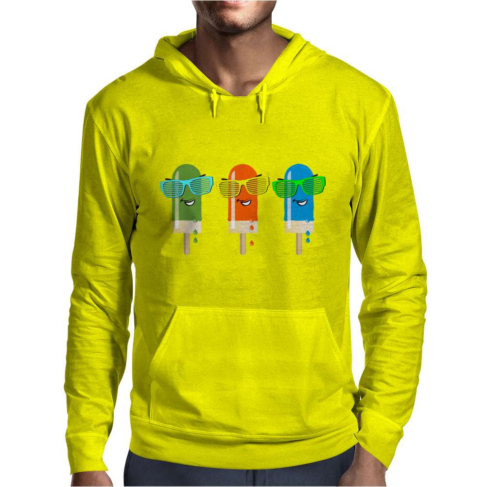 ice lolly popsicle sunglasses green orange light blue Mens Hoodie