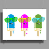 ice lolly popsicle sunglasses light blue pink green Poster Print (Landscape)