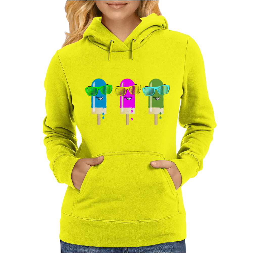 ice lolly popsicle sunglasses light blue pink green Womens Hoodie