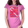 Iconic Christmas Candy Cane Womens Fitted T-Shirt