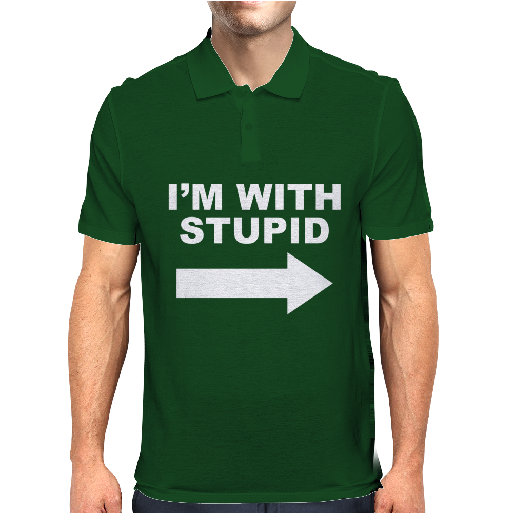 I'M WITH STUPID Mens Mens Polo