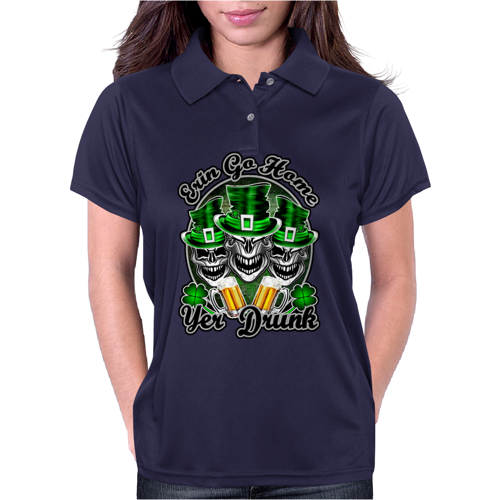 Irish Skull Trio: Erin Go Home, Yer Drunk Womens Polo