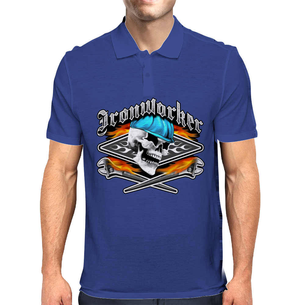 Ironworker Skull and Flaming Crossed Spud Wrenches 1 Mens Polo