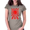 Japanese Rising Sun Flag V-Neck Womens Fitted T-Shirt