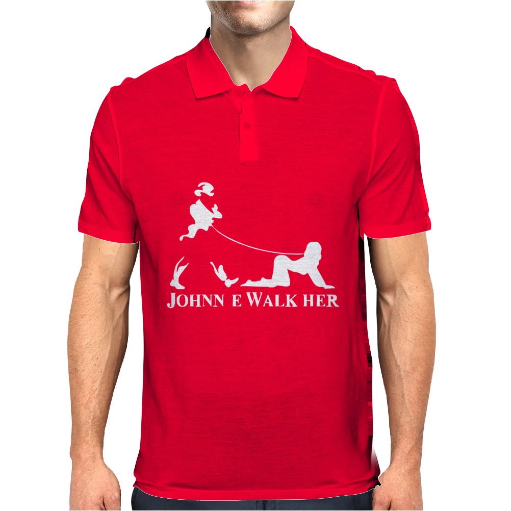 Johnnie Walk-Her (Walker) ~ Mens Funny Whisky Parody Mens Polo