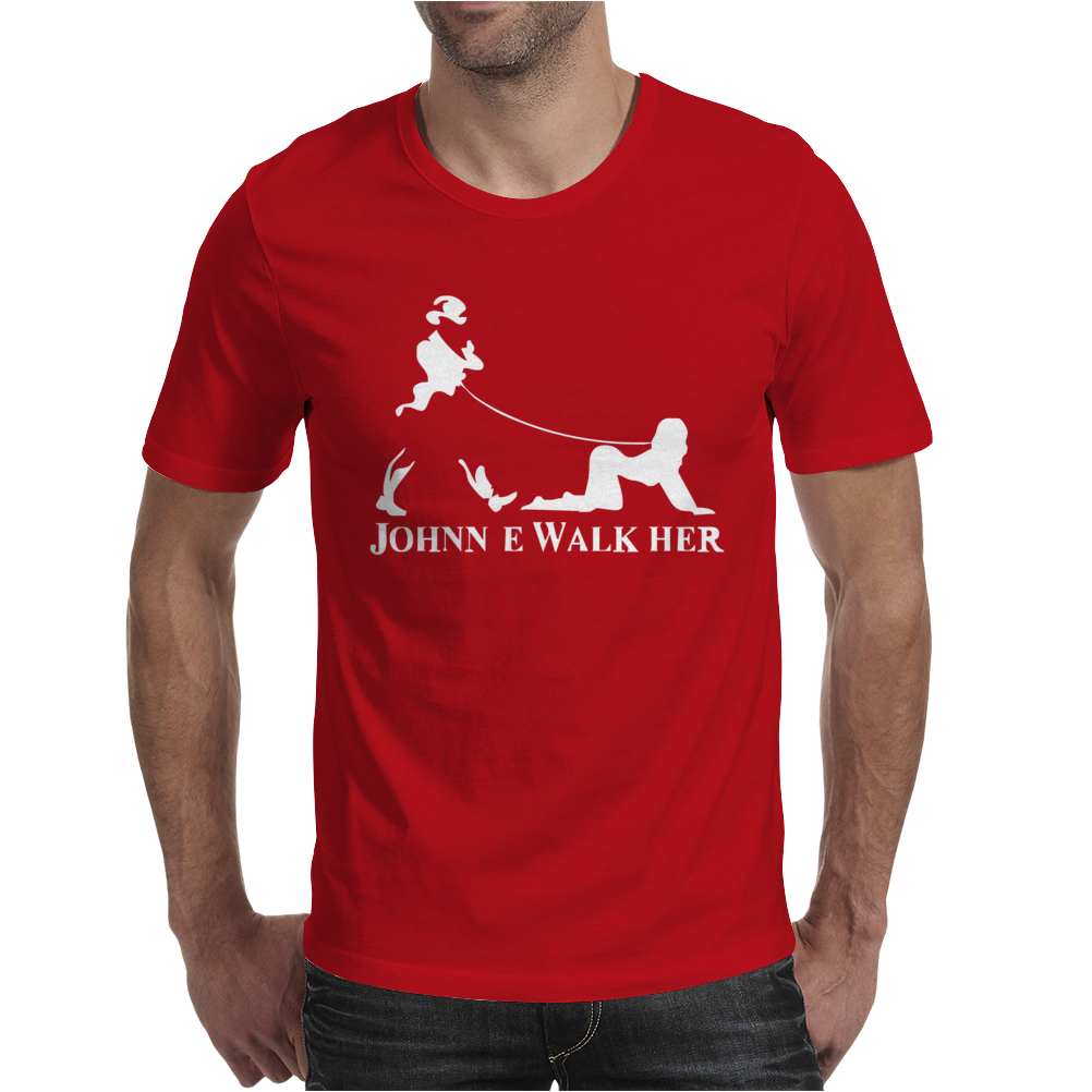 Johnnie Walk-Her (Walker) ~ Mens Funny Whisky Parody Mens T-Shirt
