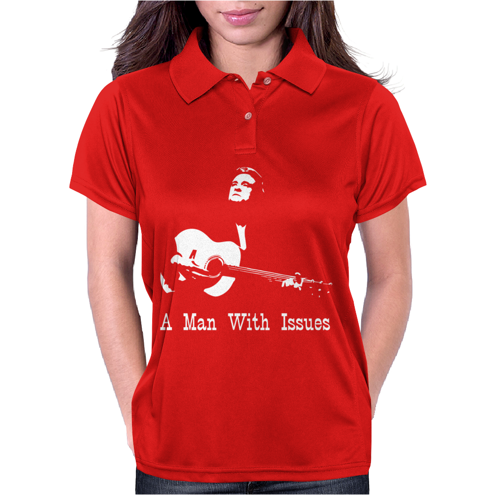 Johnny Cash A man With Issues Womens Polo