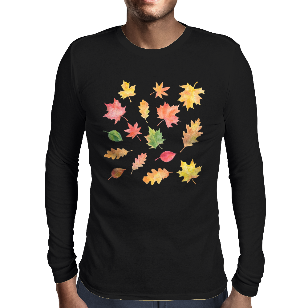 Joyful Autumn Leaves Mens Long Sleeve T-Shirt