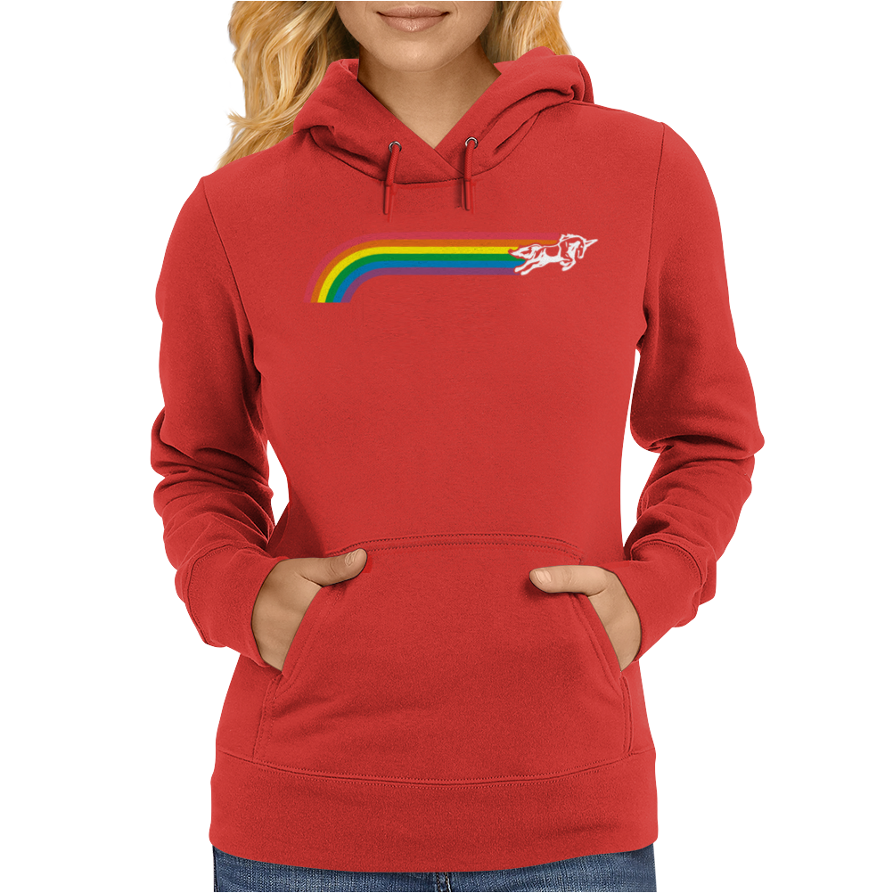 Jumping UNICORN RAINBOW STRIPE Womens Hoodie