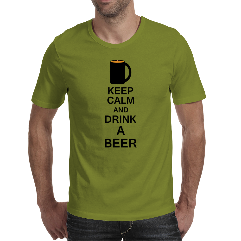 Keep calm and drink a beer Mens T-Shirt