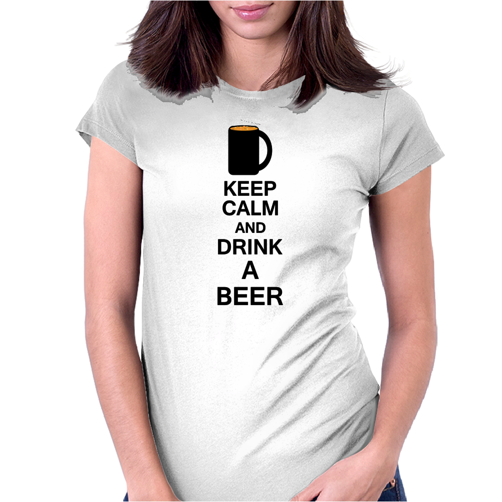 Keep calm and drink a beer Womens Fitted T-Shirt