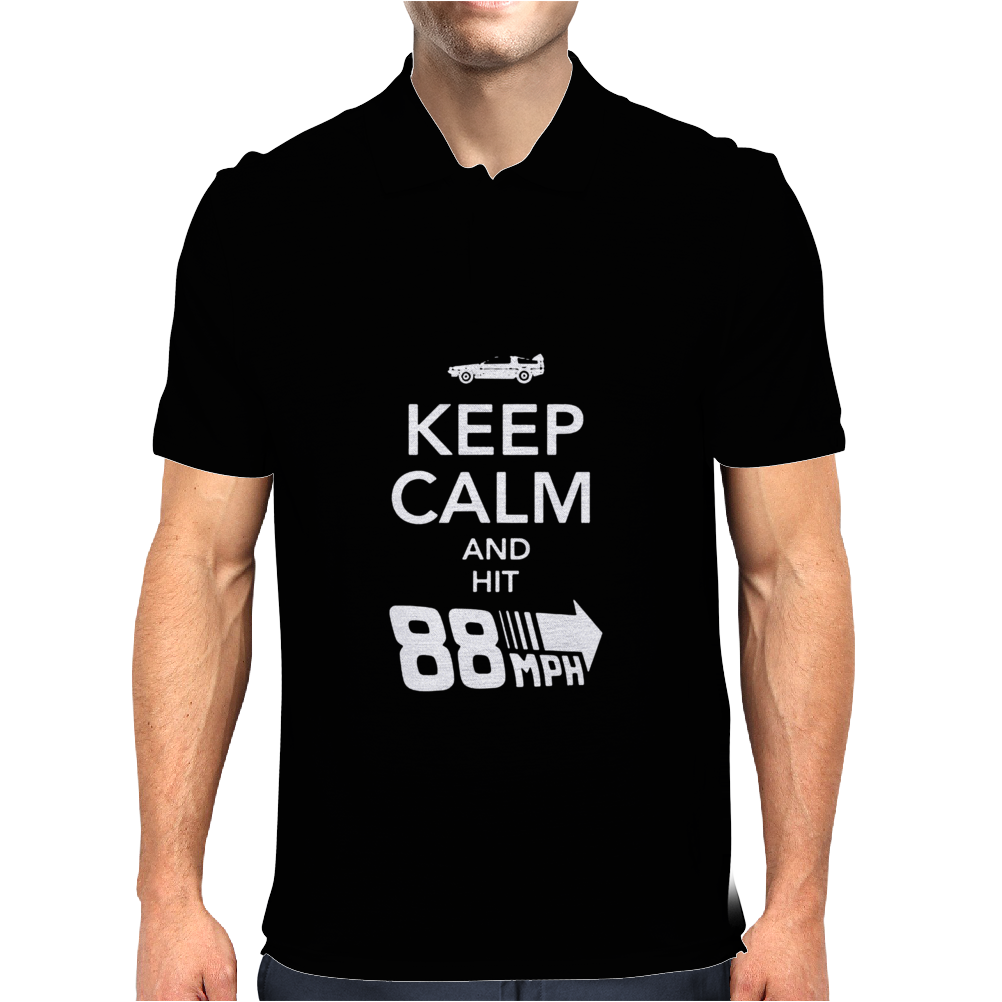 Keep Calm and Hit 88 MPH Time Travel Mens Polo