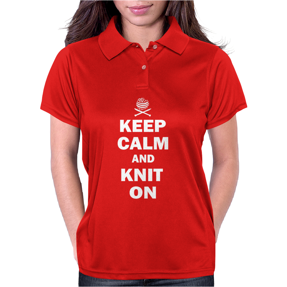 Keep Calm And Knit On Womens Polo