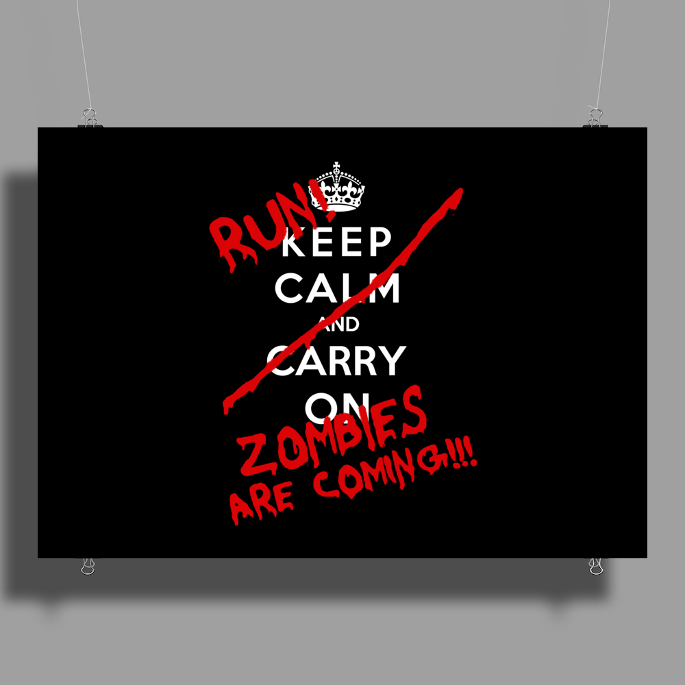 Keep Calm and Run Zombies Are Coming Poster Print (Landscape)