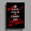 Keep Calm and Run Zombies Are Coming Poster Print (Portrait)
