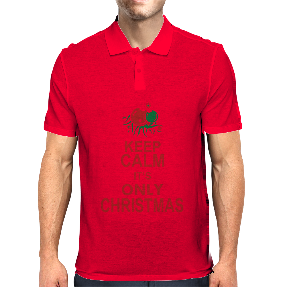 Keep Calm It's Only Christmas Mens Polo