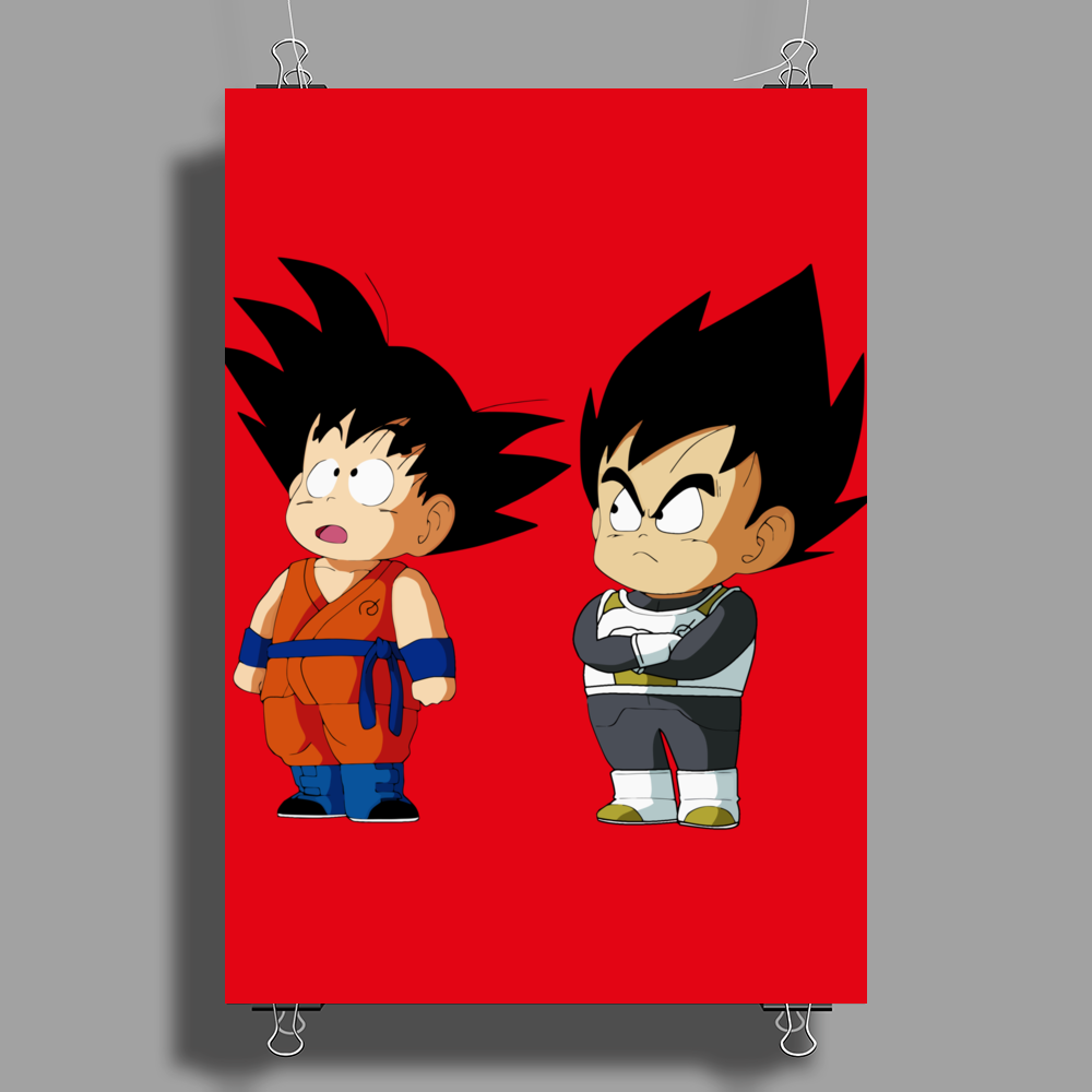 Kid Goku and Kid Vegeta Poster Print (Portrait)