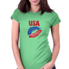 Kiss USA, America love Womens Fitted T-Shirt