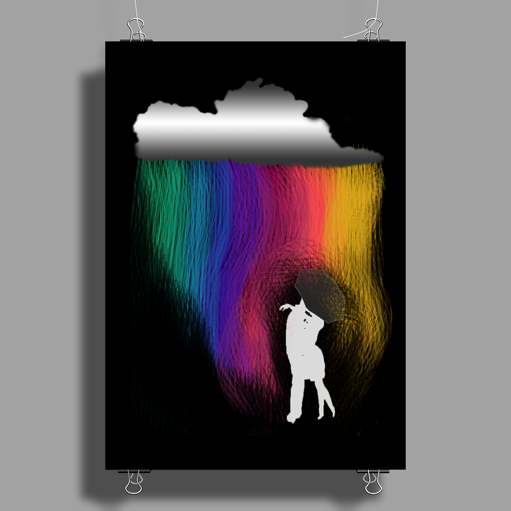 Kissing in the rain Poster Print (Portrait)