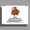 Ladies Chocolate will never call you fat! Chocolate understands! Poster Print (Landscape)