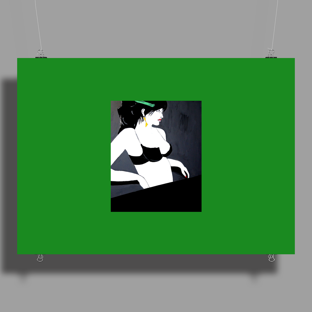 LADY WITH GREEN  BOW Poster Print (Landscape)