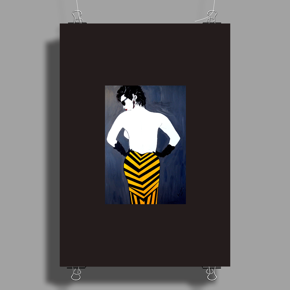LADY WITH YELLOW AND BLACK  SKIRT Poster Print (Portrait)