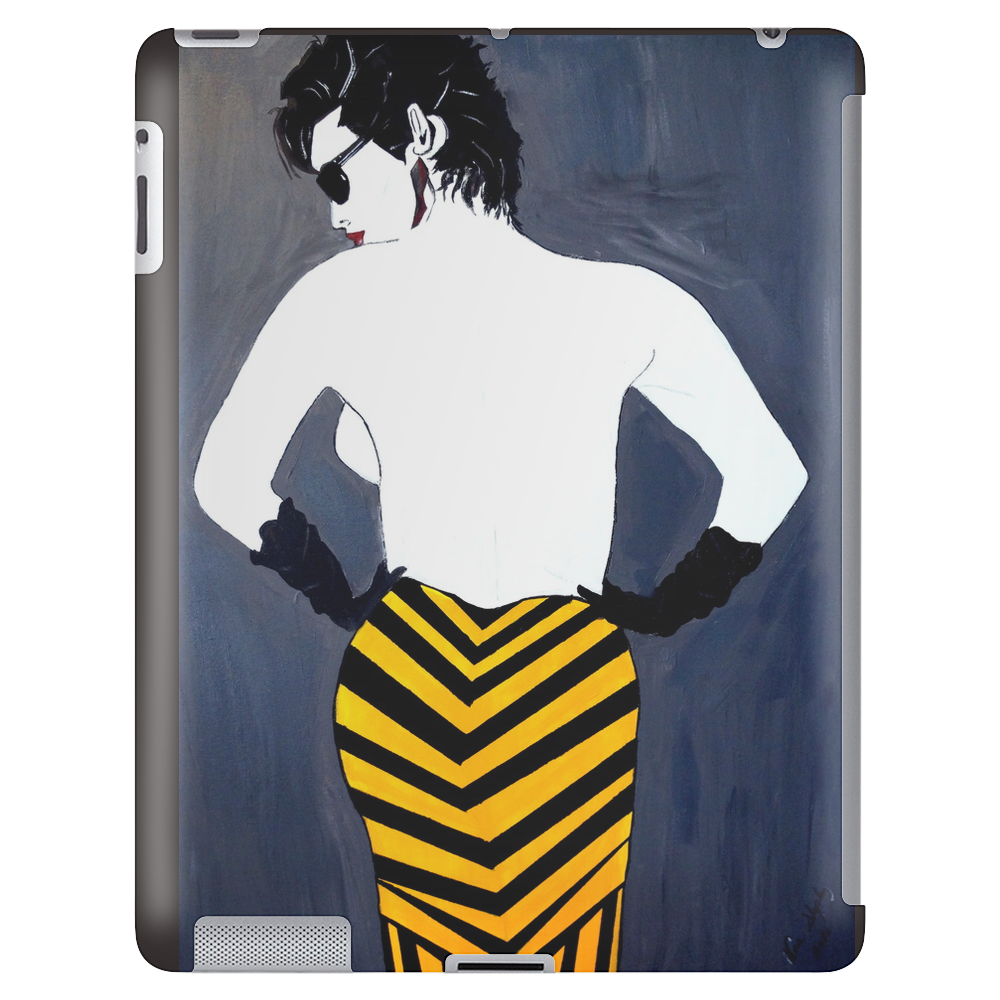 LADY WITH YELLOW AND BLACK  SKIRT Tablet