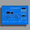 Land Rover Defender T90 technical drawing Poster Print (Landscape)