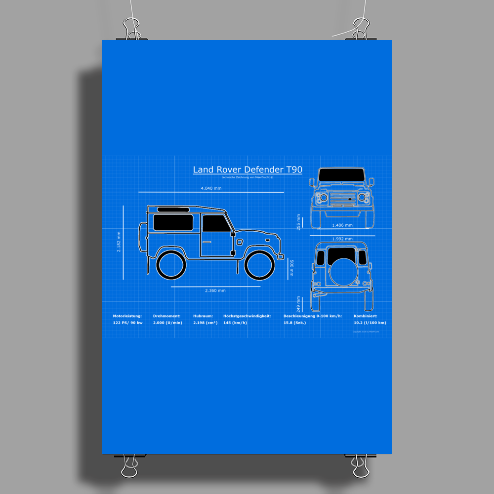 Land Rover Defender T90 technical drawing Poster Print (Portrait)