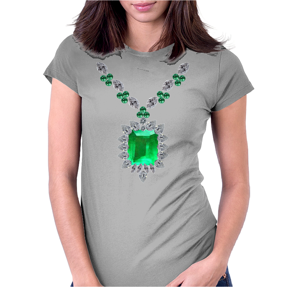 Large Emerald Pendant Necklace Womens Fitted T-Shirt