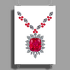 Large Ruby and Diamond Pendant Poster Print (Portrait)