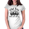 Laughing Chef Skulls: Chef Life (Baked. Fried. Sauced.) Womens Fitted T-Shirt