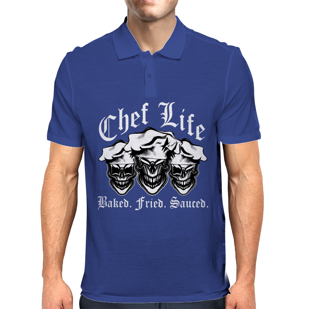 Laughing Chef Skulls: Chef Life Mens Polo